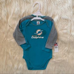 NFL Miami Dolphins Onesie Bodysuit Set, 18 Months